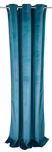 Tom Tailor T- French Velvet Curtain with Eyelets, Polyester, Turquoise, 245 x 135 x 0,05 cm de Tom Tailor