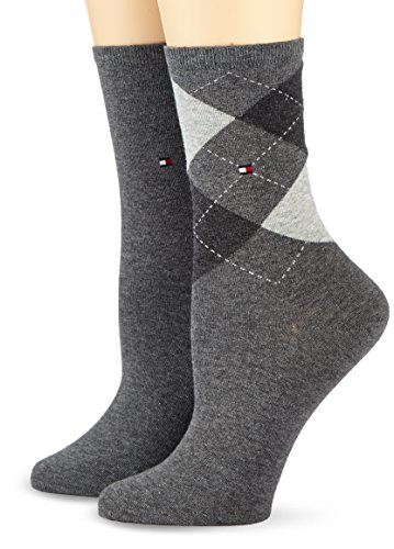 Tommy Hilfiger TH WOMEN CHECK SOCK 2P, Chaussettes Femme, Gris (Middle Grey Melange 758), FR : 35-38 (Taille fabricant : 35/38) de Tommy Hilfiger