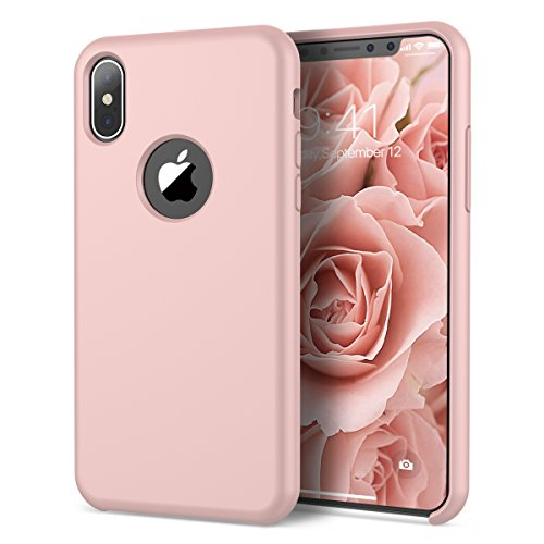 VemMore Coque pour iPhone X Rigide Dur Original Silicone Design Souple Mat Bumper TPU Flexible Etui One Piece Housse Case Cover pour iPhone X / iPhone 10 -- Rose Gold de VemMore
