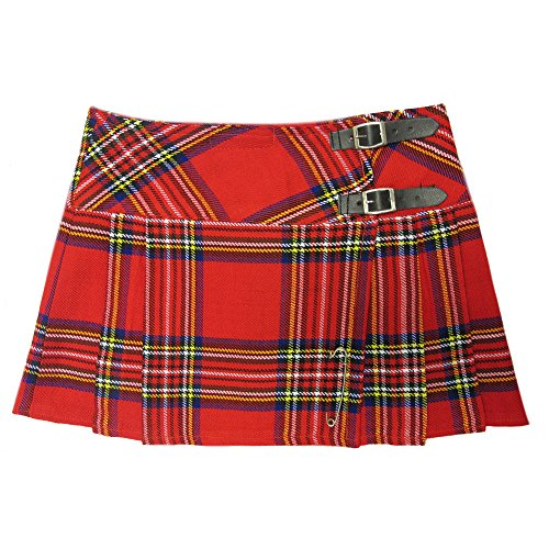 Mini jupe à carreaux kilt écossais punk rouge 56 de Viper London