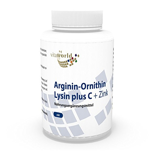 b21320a07b1a Vita World Arginine Ornithine Lysine + Zinc + Vitamine C 60 Capsules Made  in Germany de
