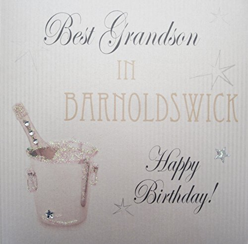 Blanc Coton Cartes « Seau à Champagne, barnoldswick, Best Carte d'anniversaire Faite à la Main Inscription Happy Birthday Grandson en barnoldswick. de White Cotton Cards