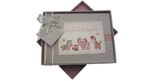 White Cotton Cards Toys Range Album photo pour bébé Inscription Grandparent's Boasting Book Motif à carreaux Rose de White Cotton Cards