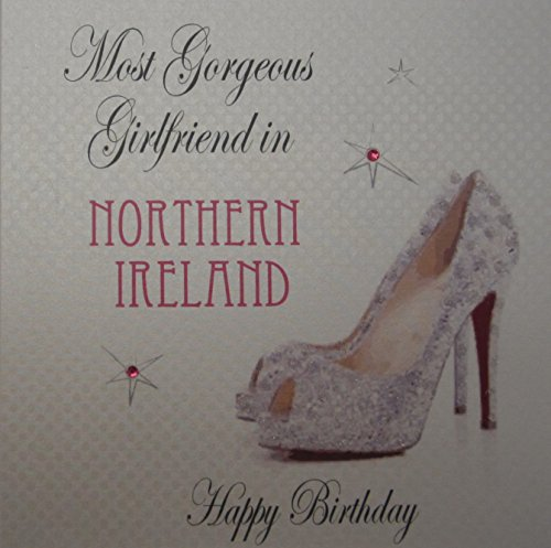 White cotton card most gorgeous girl friend en northern ireland happy birthday handmade town card shoe avec paillettes de White Cotton Cards