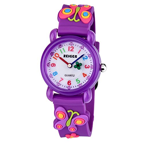 Montre Enfant Zeiger Montre Enfant Fille 3D Motif Papillon Violet Time Teacher Cadran pedagogique KW106 Montre d'enfant Fille Montre Fille Quartz de Zeiger