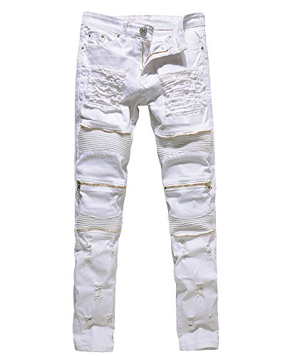 Biker Jeans Homme Slim Fit Zipper Styles Motard Denim Pantalon Trousers Blanc 30 de ZhuiKun