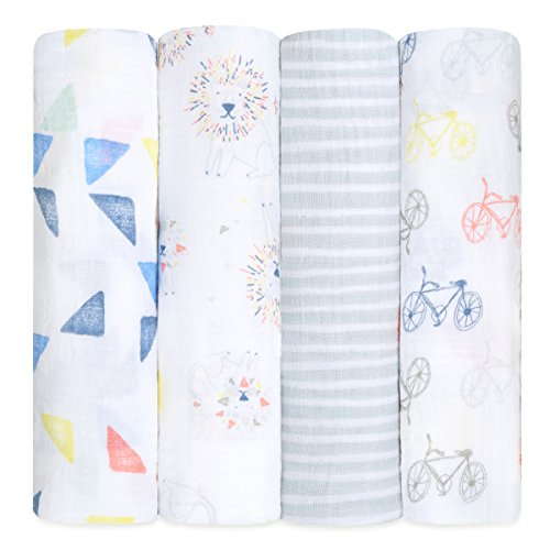 Aden + anais maxi-langes, 100% mousseline de coton, 120cm x 120cm, pack de 4, Leader of The Pack de aden + anais