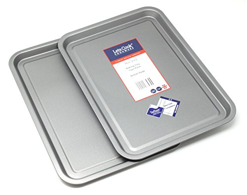 Baking Tray Twin Pack - Teflon Non Stick British Made Baking Tins by Lets Cook Cookware de Lets Cook Cookware