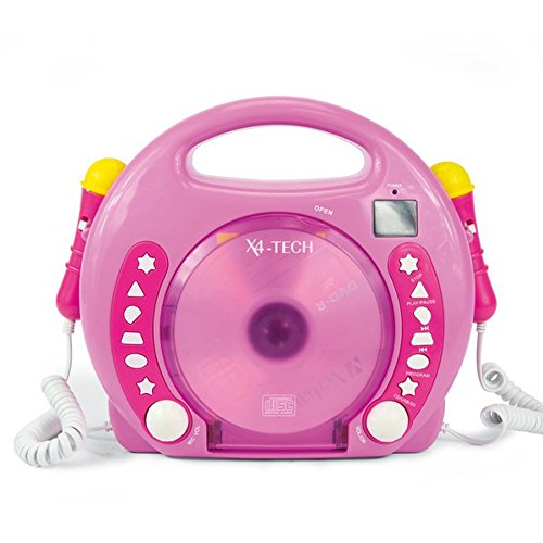 von X4-TECH 701481 – CD MP3 Lecteur Karaoké 2 micros Fille Rose de von X4-TECH
