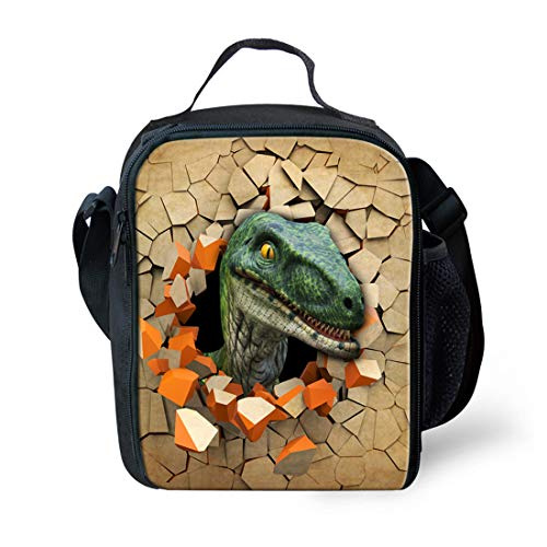 Nopersonality Marron Impression Animal Dinosaure Sac à déjeuner isotherme enfants Lunch Box, Polyester, Dinosaur 3, Taille M de nopersonality