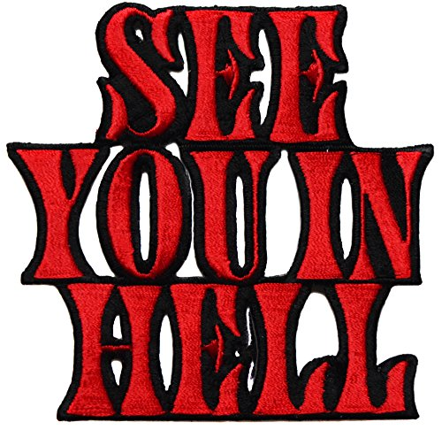 topt mili ecusson See You in Hell Enfer Biker Motard Moto USA us thermocollant 9x8,5cm patche Badge de topt mili