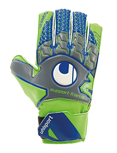 uhlsport TENSIONGREEN Soft SF Junior - Gant Gardien Football - Paume Latex Soft - Coupe Classique - Gris foncé/Vert Fluo/Marine de uhlsport